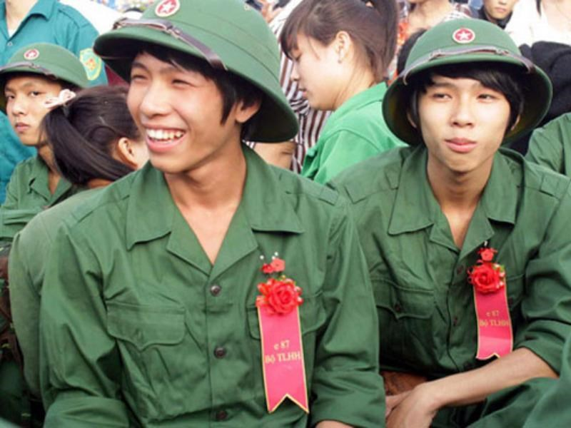 Young men from the central province of Binh Dinh during conscription. Photo: Hoang Trong