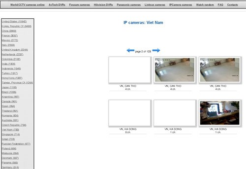A screenshot of live streams of CCTV footage being recorded in Vietnam is being broadcast by insecam.com