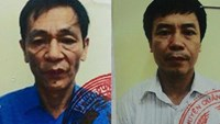 Tran Ngoc Quyet (L) and Phan Ngoc Thuc were arrested Tuesday on swindling charges. Photo: Nam Anh
