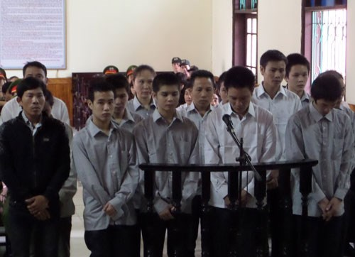 The defendants at trial in Ha Tinh on Wednesday. Photo: Nguyen Dung