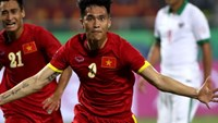 Vietnam's Cong Vinh celebrates a point scored against Indonesia at the AFF Suzuki Cup in Hanoi on November 22.