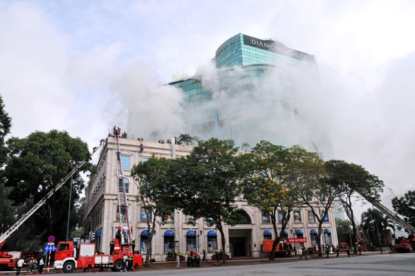 A fire drill in downtown Ho Chi Minh City. Photo: Diep Duc Minh