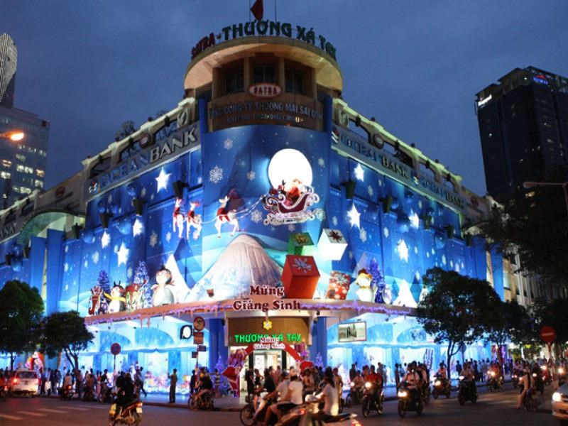 A file photo shows Christmas Light Up 2011 at the Saigon Tax Trade Center. The building, which serves as a defining landmark for locals and tourists alike, is being demolished to make way for a 40-story skyscraper. Photo credit: www.hitachi.com.vn