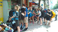 Foreign tourists on a street in downtown Ho Chi Minh City. Photo: Minh Hung
