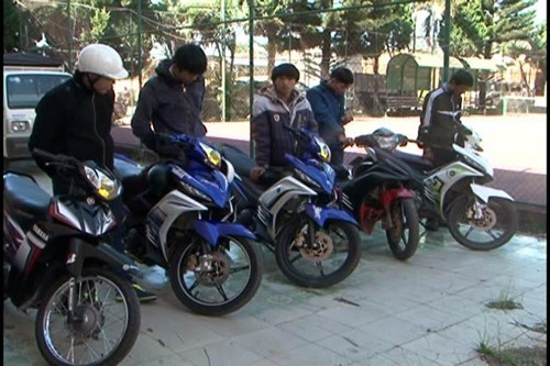 A group of street racers that were arrested on November 27 in Lam Dong Province. Photo: Lam Vien