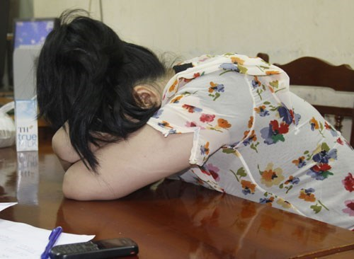 A sex worker at the police station in Hanoi. Photo: Thai Son