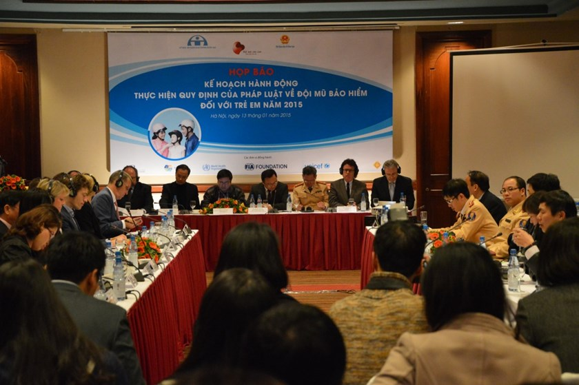 Representatives of relevant agencies at the launch of National Child Hemlet Action Plan in Hanoi on January 13. Photo credit: AIP Foundation