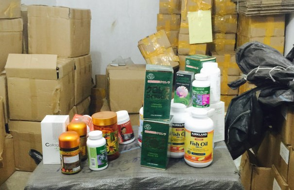 Fake dietary supplements found at a store in Bac Ninh Province on January 25. File photo
