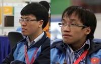 Le Quang Liem (R) and Nguyen Ngoc Truong Son are expected to secure two regional tickets to Chess World Cup 2015. Photo: Kha Hoa