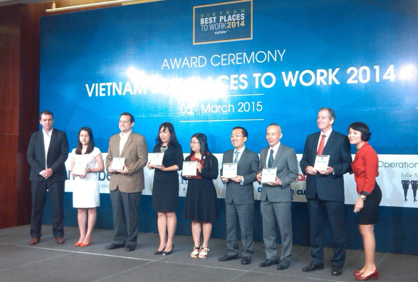 Representatives of companies listed in Vietnam's 100 Best Places to Work 2014. Photo: Minh Hung