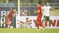Huy Toan celebrates a goal in a friendly match against Indonesia on March 9. Photo: Minh Tu