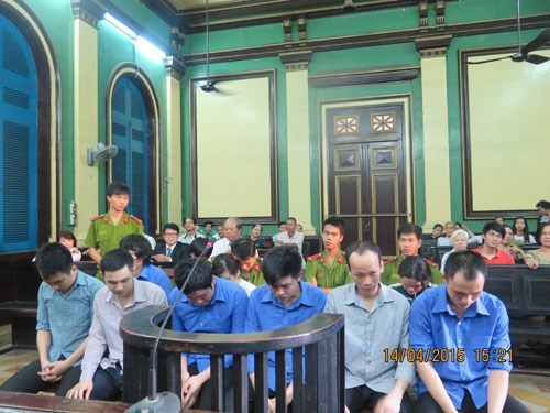 The defendants at the trial in Ho Chi Minh City on April 14, 2015. Photo: Phan Thuong