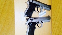Two guns that Lian Shao Ming smuggled from Cambodia into Vietnam. Photo credit: Tay Ninh police