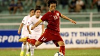 Minh Nguyet scores her third goal from a penalty kick in an AFF Women's Championship match in Ho Chi Minh City on May 6. Photo: Kha Hoa