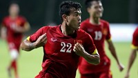 Vietnam's Thanh Hien (22) celebrates the only goal for Vietnam, securing a narrow victory over Laos on June 4.