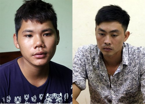 Hoang Van Son (L) and Le Minh Duc at the police station. Photo credit: VnExpress