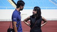 Manchester City's head of tours and friendlies Lucia Sanchez visits the Hanoi's My Dinh Stadium during her visit from June 25-27 for next month's friendly with Vietnam. Photo: Le Nam