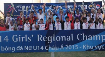 Vietnam U14 girls secure the Asian Football Confederation U14 Girls' Regional Championship title on June 28. Photo credit: VFF