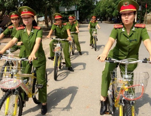 Thanh Hoa police officers patrol on bicycles. Photo credit: Thanh Hoa Police Department