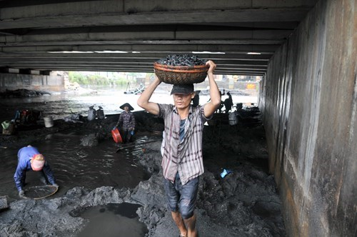 Residents collect coal washed away by floods and heavy rain in Quang Ninh Province. Photo: Ngoc Thang