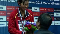 Anh Vien has become the first Vietnamese to win medals at a swimming World Cup. Photo: Khanh Uyen