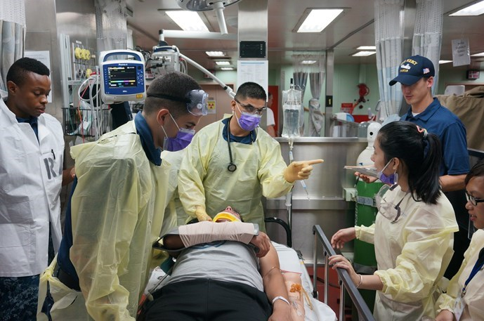 A recuing exercise on the USNS Mercy hospital ship. Photo: An Dy