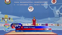 Vuong Thi Huyen competes at the 2015 Asian Weightlifting Championships in Thailand.