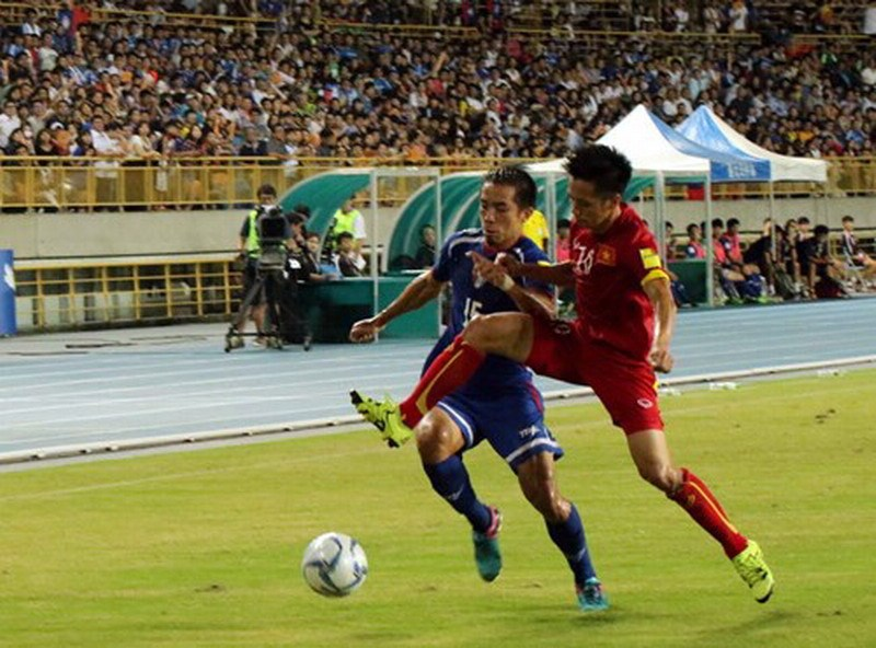 Vietnam had a win over Taiwan in extra time at the Taipei Municipal Stadium on September 8, 2015. Photo: Doan Nhat