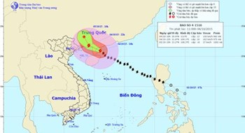 The predicted path of typhoon Mujigae, the 4th storm in Vietnam's East Sea this year. Photo credit: The National Center for Hydro-meteorological Forecasting Center