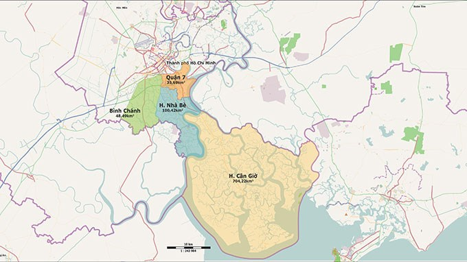 The proposed economic zone will cover District 7, Nha Be, Can Gio and partly Binh Chanh. Photo credit: Tuoi Tre