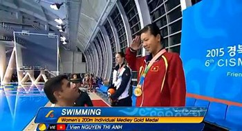 Nguyen Thi Anh Vien on the podium for the gold medal in women's 200m medley at the 2015 Military World Games in South Korea on October 9. Photo credit: CISM
