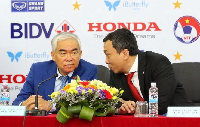 An undated photo shows Vietnam Football Federation's Chairman Le Hung Dung (L) and his deputy Tran Quoc Tuan