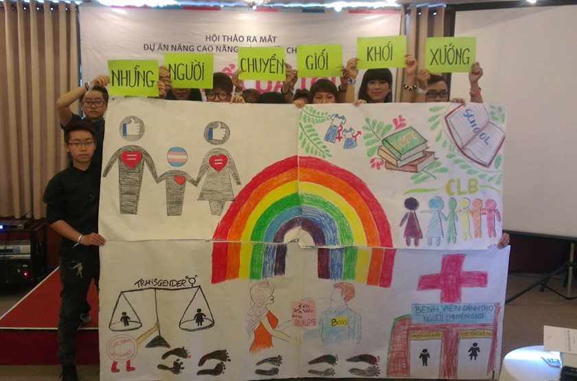 A group of transgender people in Ho Chi Minh City launches a campaign in March to call for their rights. Photo: Khanh An