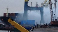 The cargo ship that was on fire at Nam Hai Port in Hai Phong City on November 27, 2015. Photo: Thanh Nien