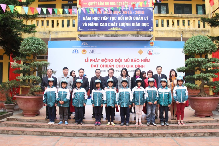"Children at Lien Ninh Primary School in Hanoi wear helmets donated under ""Helmets for Families"" program. Photo credit: AIP Foundation"