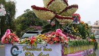 A car decorated with flowers in a flower festival held in Da Lat in 2013. Photo: Gia Binh
