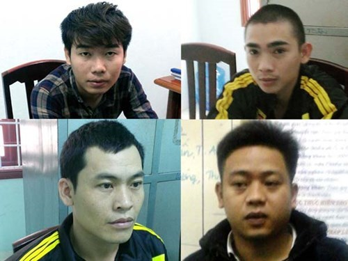 The four arrestees at the police station in Binh Dinh Province. Photo: Tri Binh