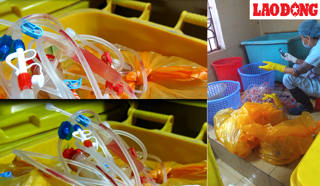 Medical waste is being categorized at Bach Mai Hospital in Hanoi. Photo credit: Lao Dong