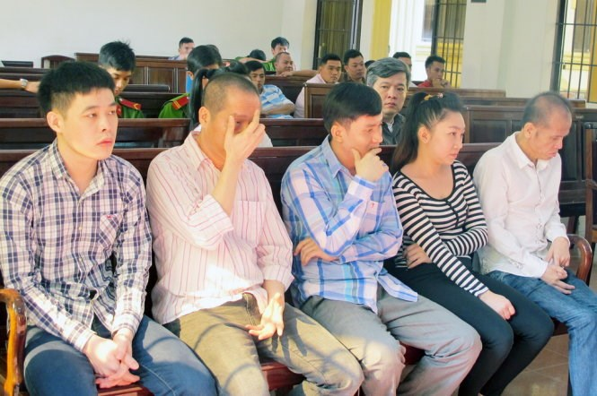 The defendants at a court in Dong Nai Province on January 22. Photo credit: Tuoi Tre