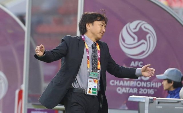 Toshiya Miura gestures during a match of Vietnam U23 team at the AFC Championships in Qatar. Photo:  Mai Nhung