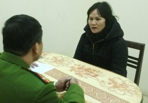 Tran Thi Hong Ha at the police station. Photo credit: Hoang Viet/VnExpress