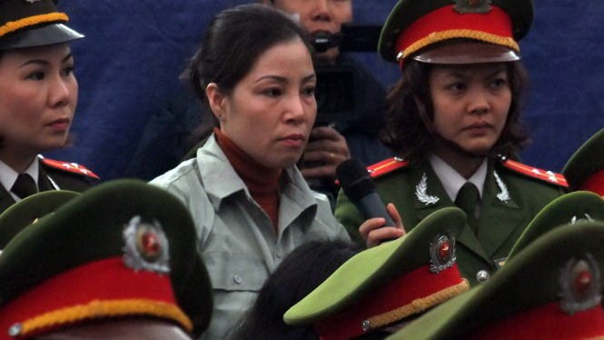 A file photo shows Nguyen Thi Hue at a 2014 trial when she was sentenced to death for drug smuggling.