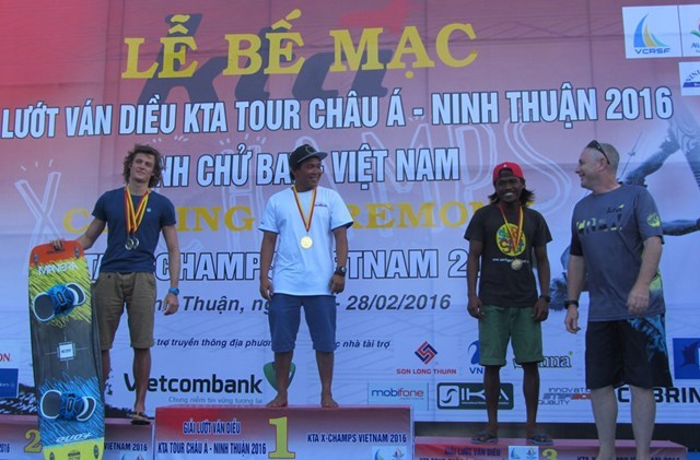 Lai Hoang Phu on the podium at the 2016 Kiteboard Tour Asia - X-Championships. Photo: Thien Nhan