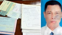 Hoang Van Luong and relevant documents seized by investigators. Photo credit: CAND