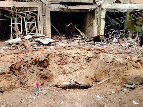 The large crater caused by the blast in Hanoi on March 19. Photo: Minh Chien