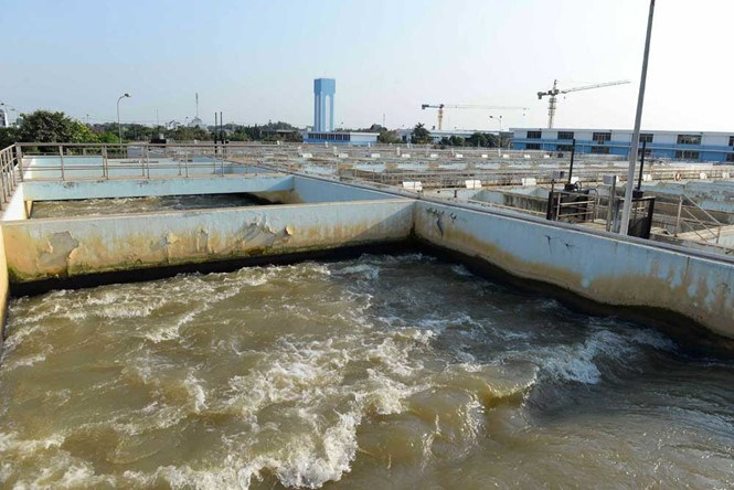 The Tan Hiep Water Plant has often halted operation this dry season due to short of freshwater. Photo: Diep Duc Minh