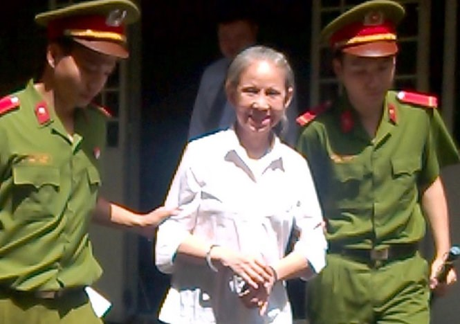 Huynh Thi Kim Hanh, 58, was sentenced to 20 years for drug possession on July 25. Photo credit: Minh Bang/Tuoi Tre