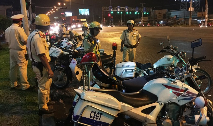 A traffic police checkpoint on Ho Chi Minh City's Hanoi Highway.