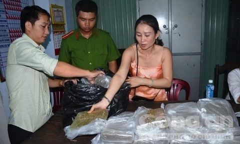 Le Thi Kim Oanh and her cannabis. Photo: Hoa Khanh