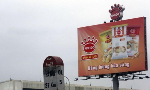 A product advertising billboard at a factory of KIDO Corp. in the northern province of Hung Yen. Photo credit: Reuters